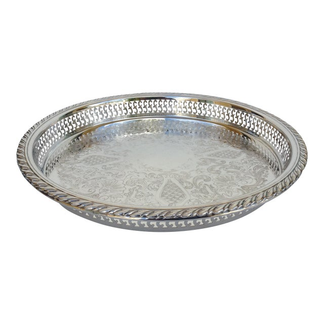 Silverplate Pierced Large Celtic Server Tray or Platter For Sale