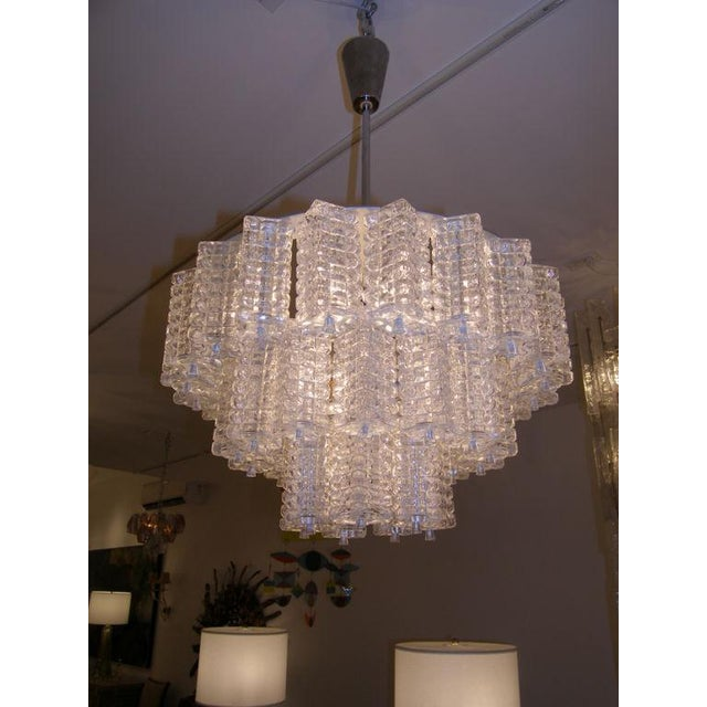 Traditional Orrefors 3 Tiered Crystal Chandelier For Sale - Image 3 of 3