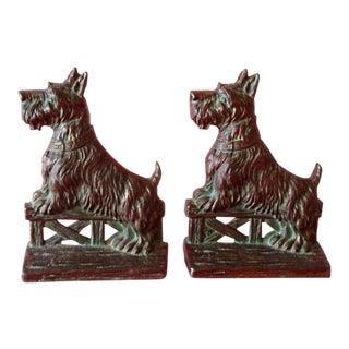 1920s Figurative Bronze Scottie Dog Bookends - a Pair For Sale