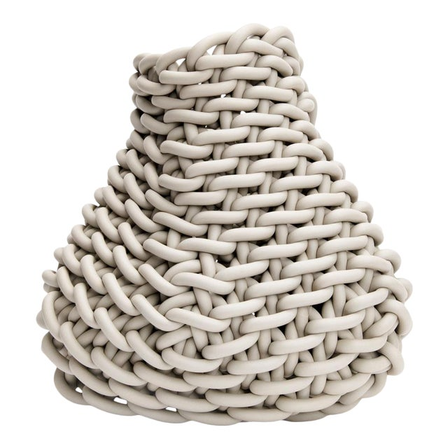 Ecru Hand-Knitted Neoprene Barca C20 Basket, Neo For Sale