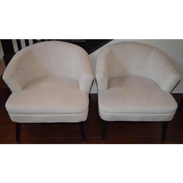Creme Velveteen Club Chairs - A Pair - Image 6 of 6