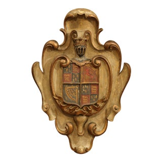 Early 20th Century French Carved Painted Wall Hanging Shield With Family Crest For Sale