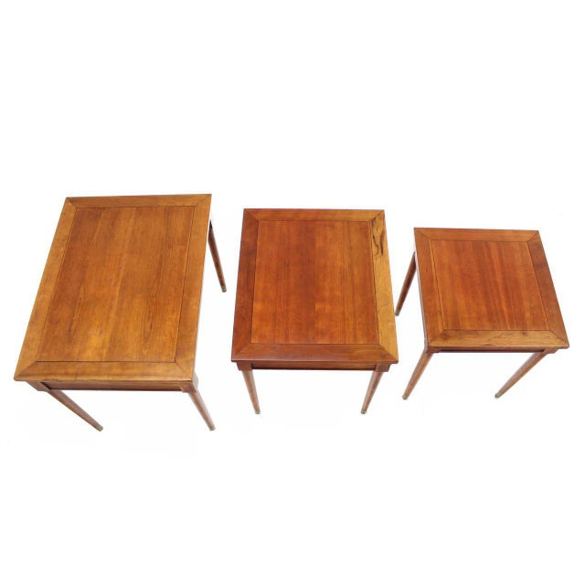 Mid-Century Modern Set of Three Mid-Century Modern Walnut Nesting Tables For Sale - Image 3 of 6