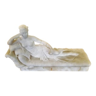 19th C. Venus Reclining Marble Sculpture For Sale