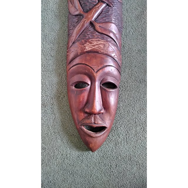Vintage African Wooden Hand Carved Mask Wall Art Chairish