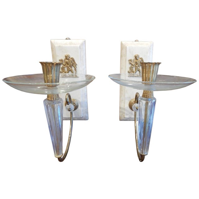 Glass Pair of Art Deco Wall Sconces For Sale - Image 7 of 7