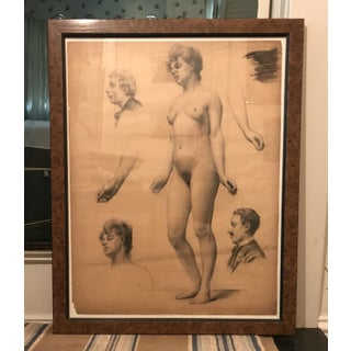 Classical French Female Nude Study Drawing, Late 19th Century For Sale