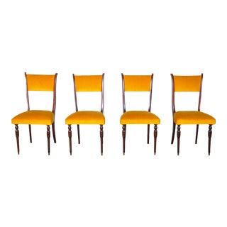 Vintage Italian Set of 4 Maple Dining Chairs W/ Velvet Upholstery For Sale