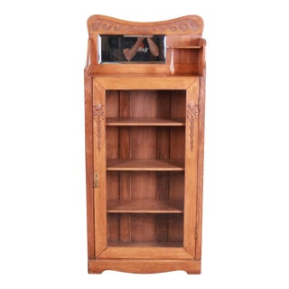 Antique Carved Oak Glass Front Bookcase With Beveled Mirror, Circa 1900 For Sale