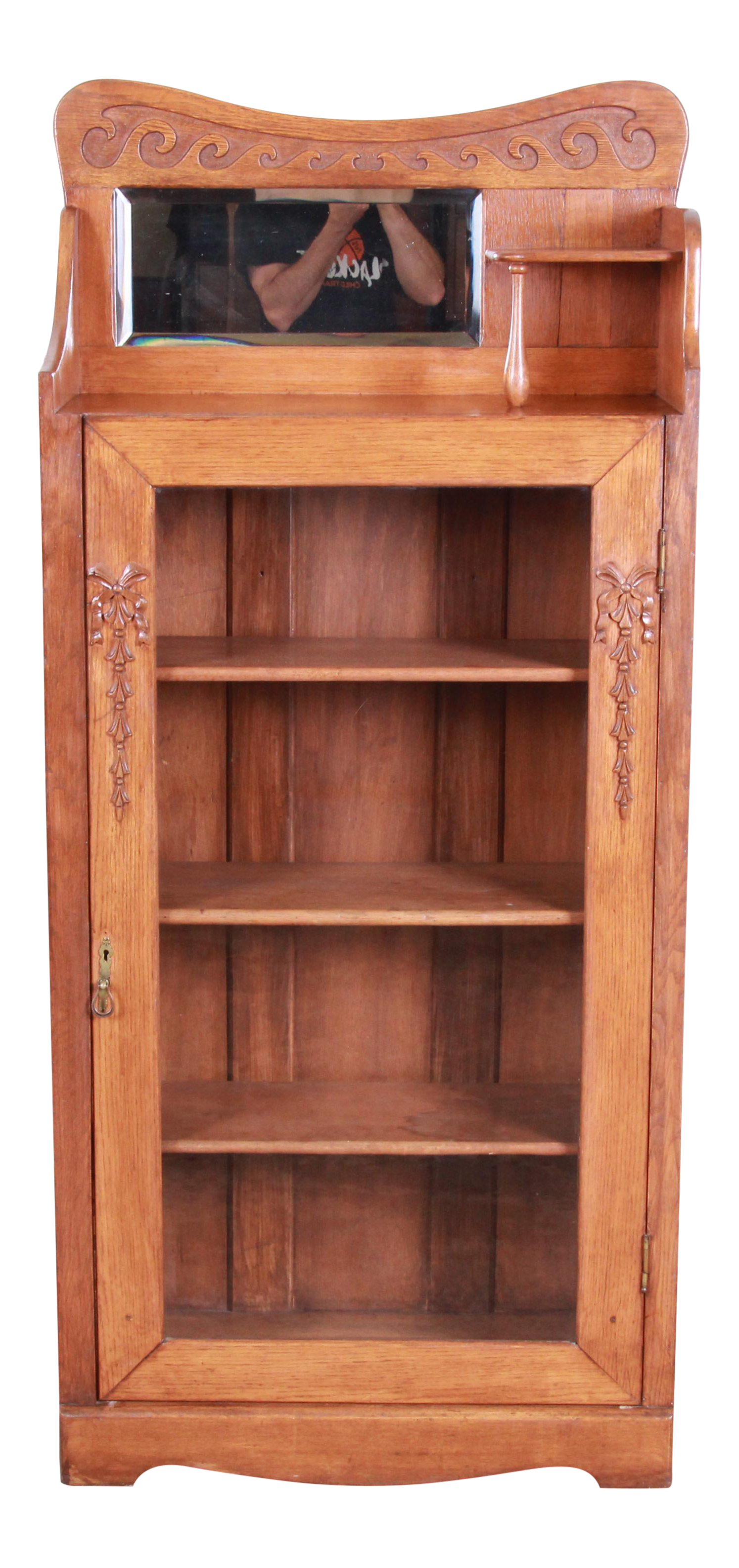 Antique Carved Oak Glass Front Bookcase With Beveled Mirror Circa 1900