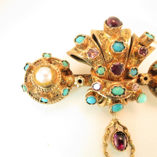 Early 19th Century Georgian Baroque Brooch 10k Gold Amethyst Turquoise Pearls Circa 1840 For Sale - Image 5 of 12