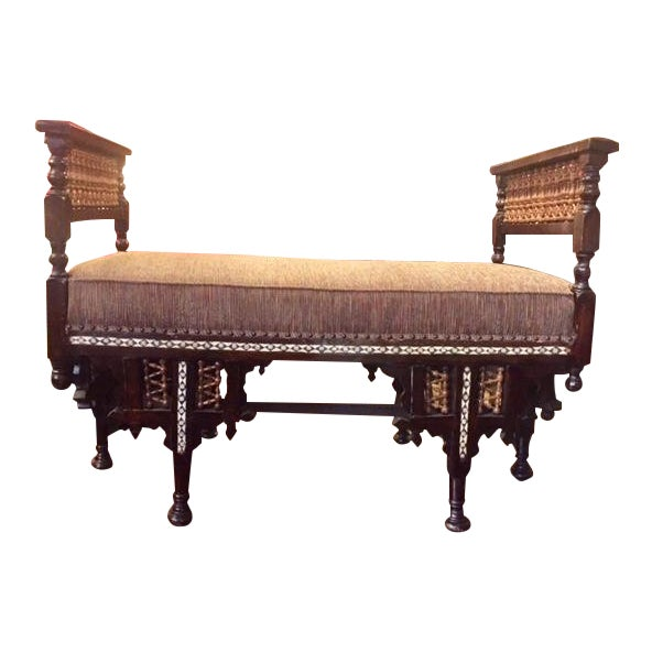 Vintage Moroccan Inlaid Bone Handled Bench For Sale