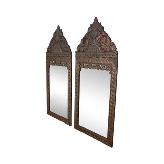 """Spanish Colonial Style Vintage 70"""" Tall Pair Repousse Mirrors For Sale"""