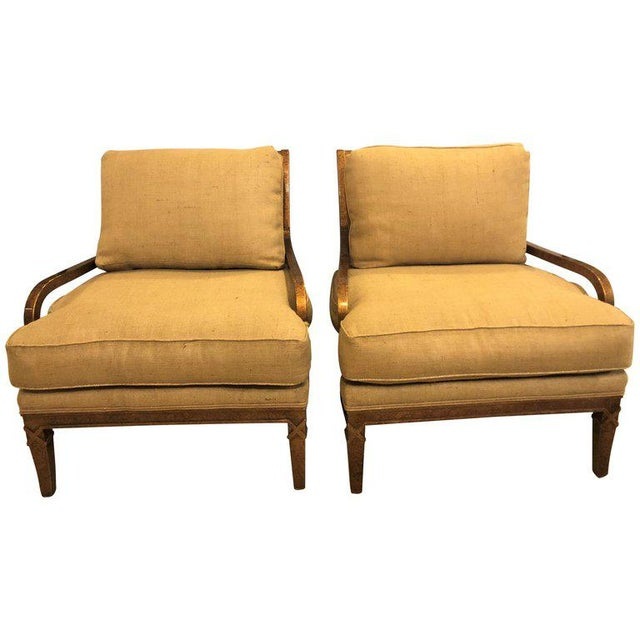 Hollywood Regency Pair of Burlap Faux Marbleized Bergère or Armchairs For Sale - Image 13 of 13