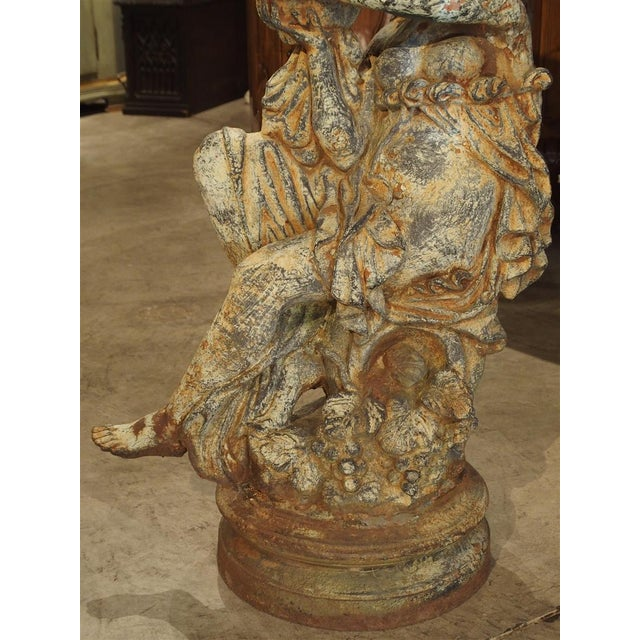 Beautiful Pair of Antique Cast Iron Figural Garden Urns For Sale - Image 9 of 13