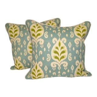Blue and Green Ikat Pillows With Down Inserts - a Pair For Sale