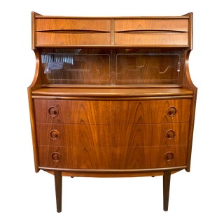 Vintage Danish Mid Century Modern Teak Secretary Desk Attributed to Arne Vodder For Sale