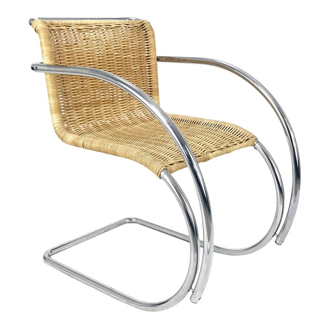 Vintage Chrome & Wicker Chair Mr-20 by Ludwig Mies S Van Der Rohe Style For Sale