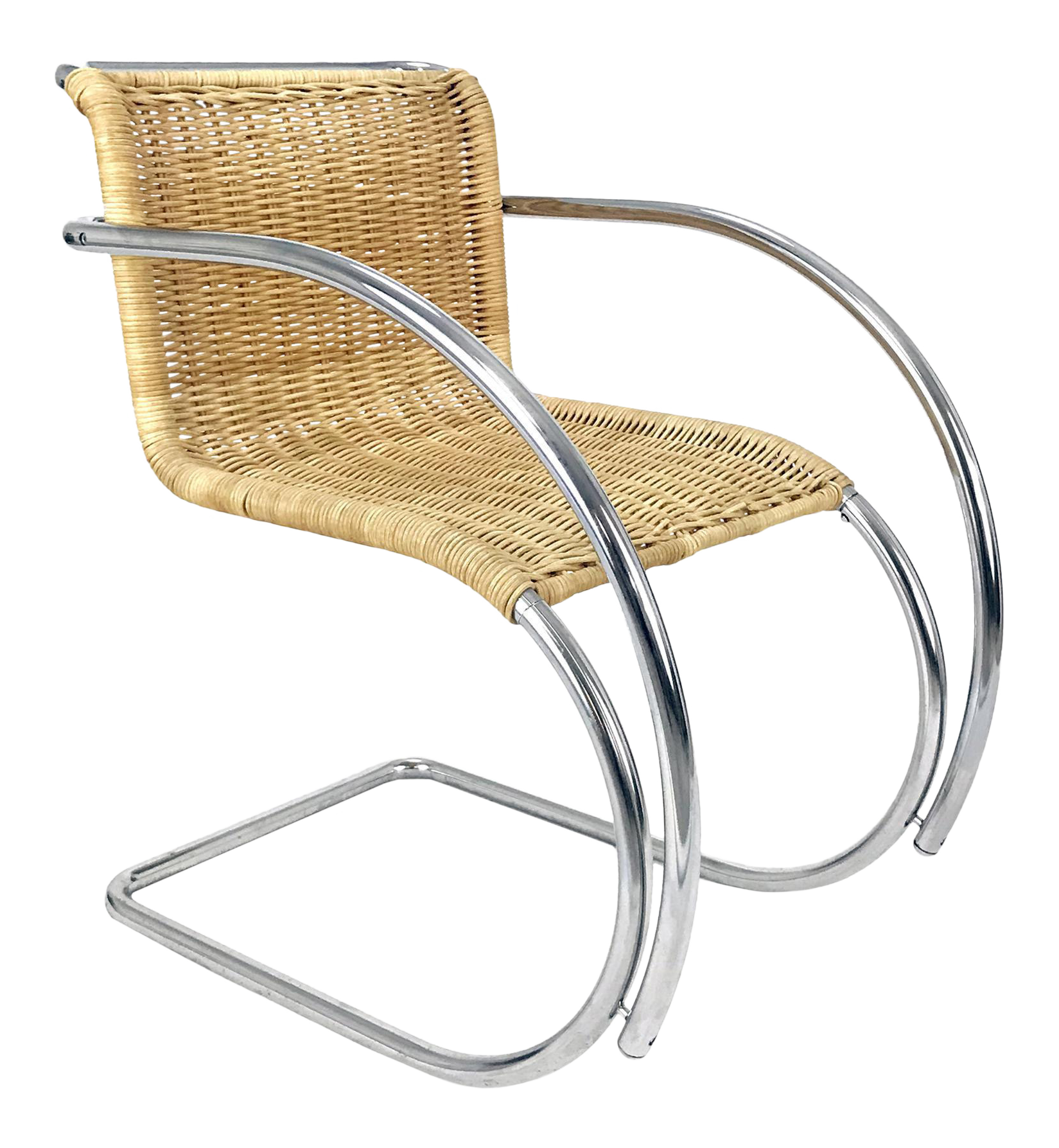 Vintage Chrome U0026 Wicker Chair Mr 20 By Ludwig Mies S Van Der Rohe Style
