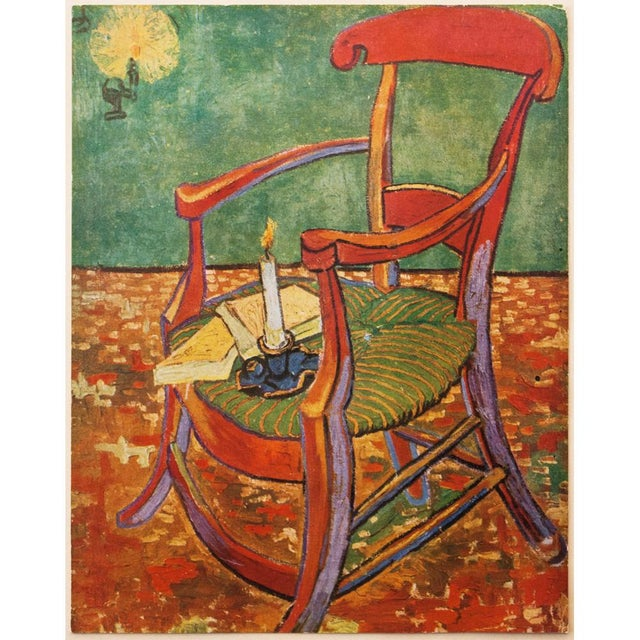 "A rare beautiful large tipped-in vintage lithograph after painting ""Gauguin's Armchair"" (1888) by Vincent Van Gogh. Comes..."