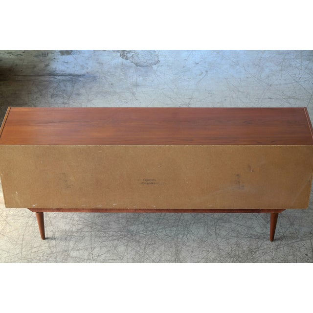 Danish Mid-Century Low Teak Sideboard by Domino Møbler, 1960s For Sale - Image 9 of 11