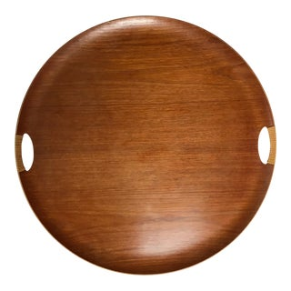 Mid-Century Modern Fritz Hansen Teak Tray With Wrapped Handles For Sale