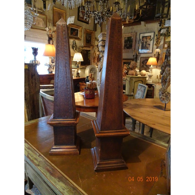 Brown Pair of Vintage French Obelisks For Sale - Image 8 of 11