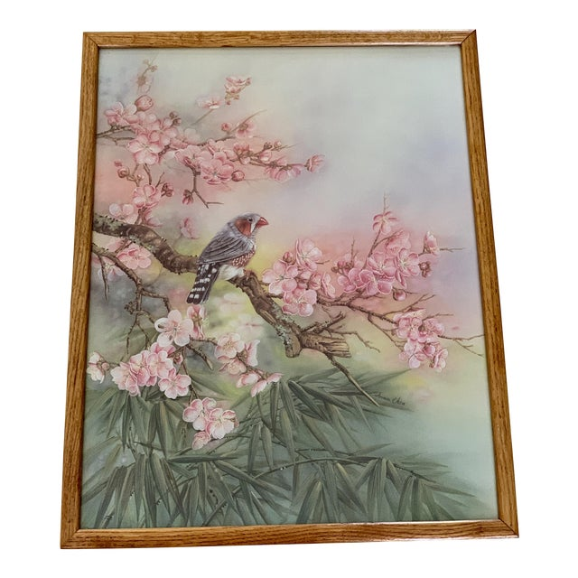 Large Vintage Watercolor Pastel Bird & Cherry Blossom Wall Art For Sale