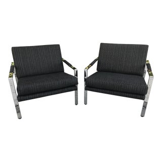 Mid Century Modern Chrome Lounge Chairs by Milo Baughman for Thayer Coggin - A Pair For Sale