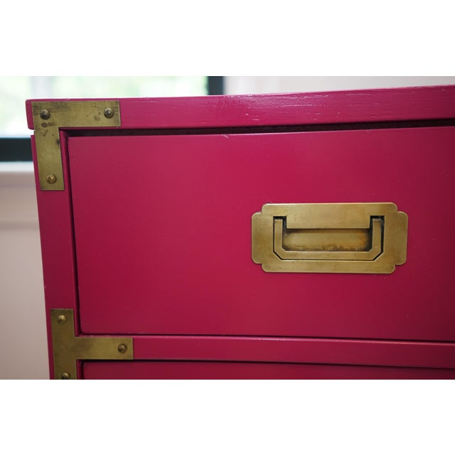 Campaign Lacquered Fuschia Bachelors Chests - a Pair For Sale - Image 4 of 13