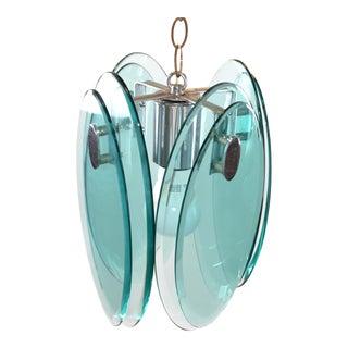 Fontana Arte Mid-Century Modern Beveled Glass & Chrome Pendant Light Fixture 70s For Sale