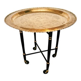 Vintage Rolling Brass Tray Table For Sale