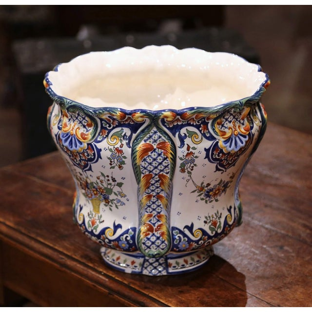 Early 20th Century, French Hand Painted Faience Planter From Normandy For Sale - Image 4 of 7