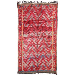 Late 20th Century Vintage Berber Moroccan Rug - 6′8″ × 11′ For Sale