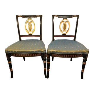 Early 20th Century Hand Painted Black Lacquered Regency Chairs- a Pair For Sale