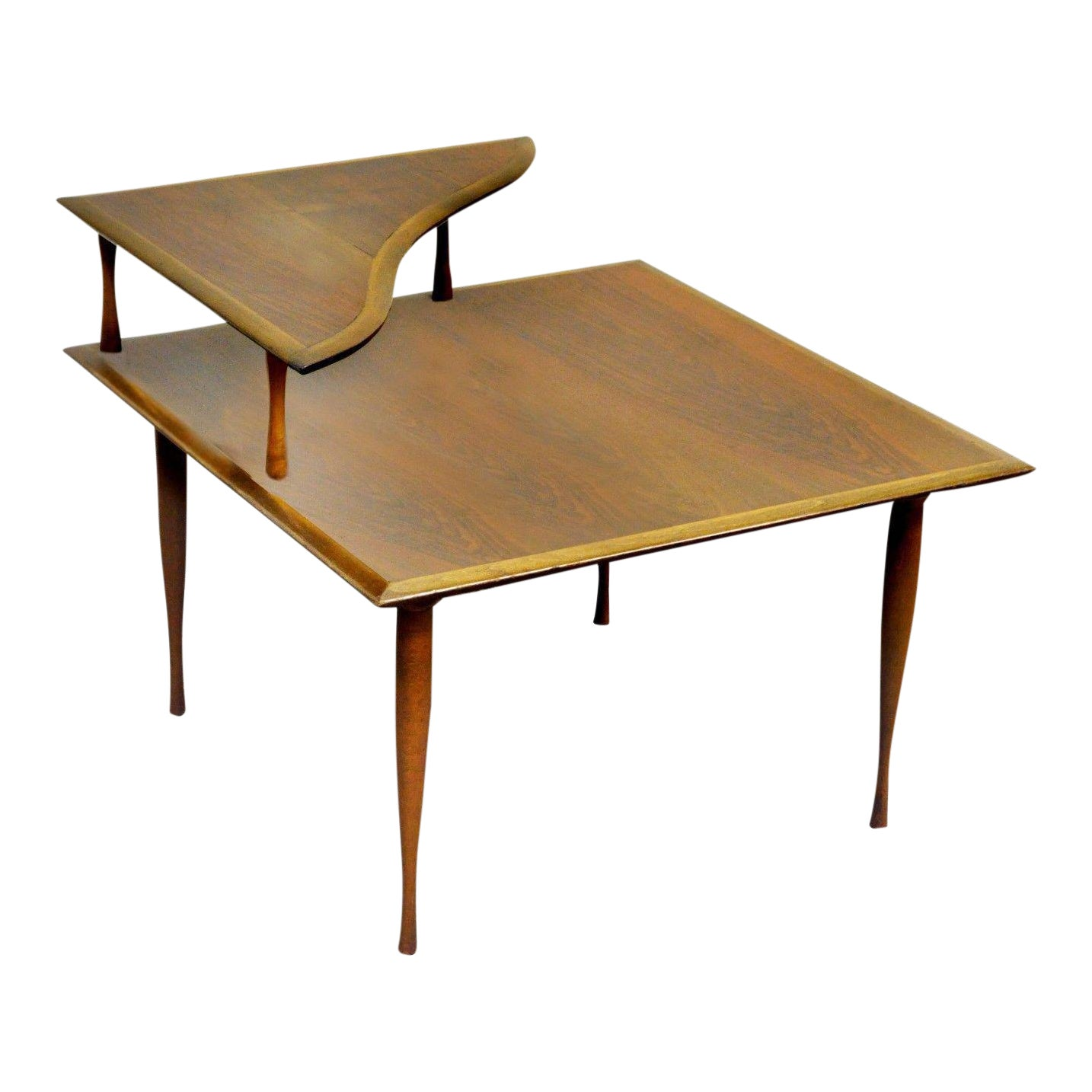 Vintage Mid Century Danish Modern Walnut 2 Tier Corner Coffee Table Hourglass Legs Chairish