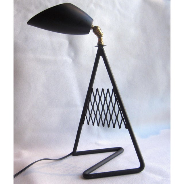 French 1950s French Vintage Mid-Century Modern Matte Black Aluminum Zig Zag Base Lattice Lamp For Sale - Image 3 of 10