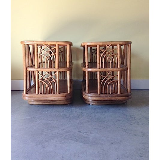 Mid Century Bamboo Swiveling End Table - Pair - Image 2 of 4