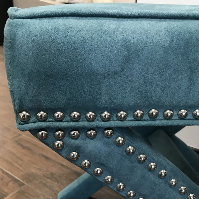 Vintage Teal Velveteen Ottomans - a Pair For Sale - Image 4 of 6