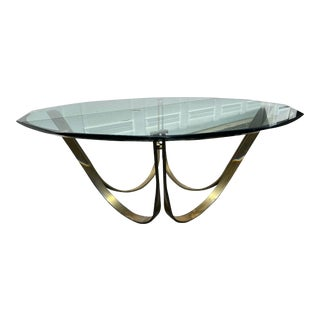 20th Century Brass and Glass Coffee Table For Sale