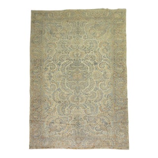 Beige Light Blue Khaki Oversize Antique Rug, 9'6'' X 17' For Sale