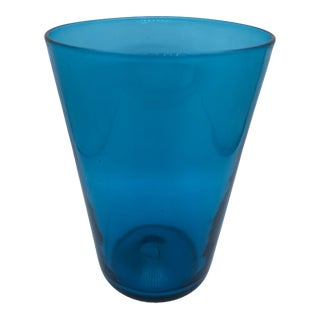 Mid-Century Modern Hand-Blown Turquoise Vase For Sale