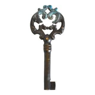 Antique Bronze Cabinet Skeleton Key For Sale