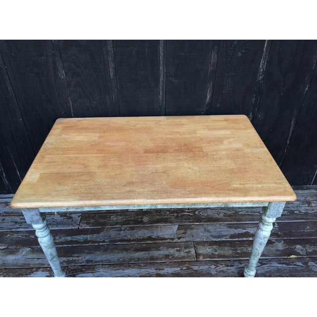 Shabby Chic Farm Table - Oak Top For Sale - Image 5 of 11