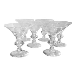 Set of 6 Steuben Crystal Martini or Champagne Stems For Sale
