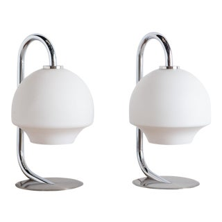 Pair of Fase Chrome + Glass Table Lamps For Sale