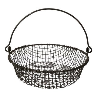 1930s Industrial Wire Basket For Sale
