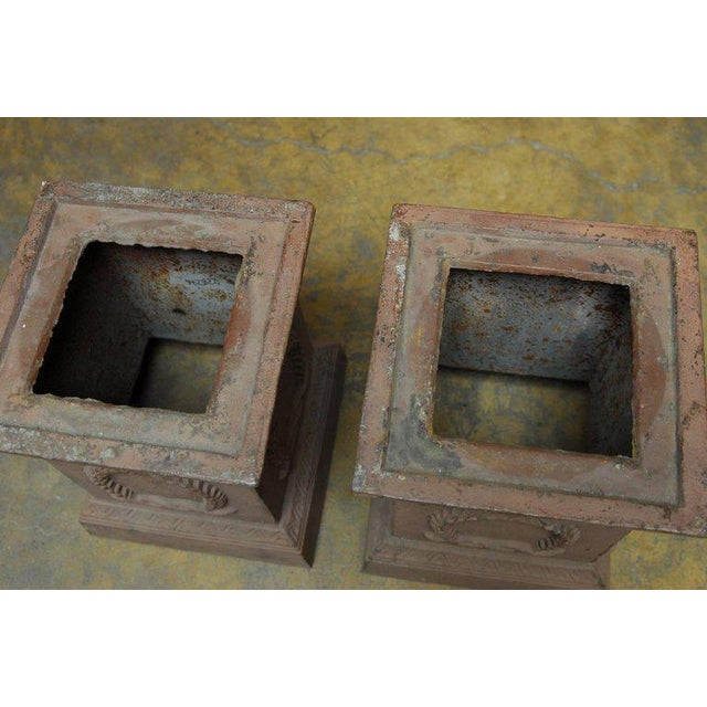 Neoclassical Neoclassical Cast Iron Pedestals or Urns - a Pair For Sale - Image 3 of 10