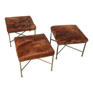 1950s Paul McCobb for Directional Model 1306 Brass Footstools - Set of 3 For Sale