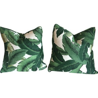 Green & Beige Palm Beach Pillows - A Pair